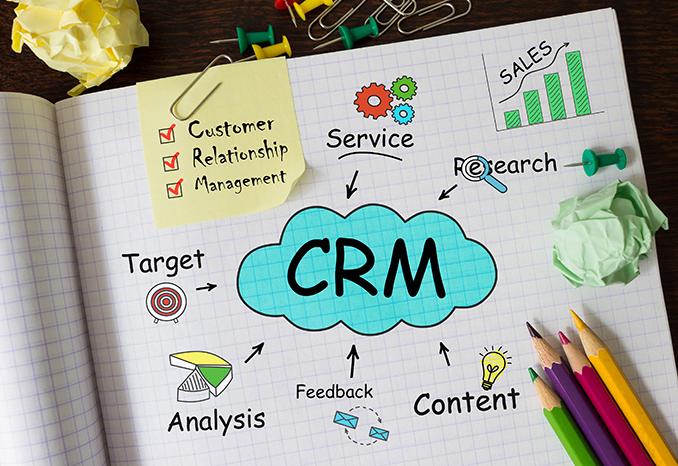 Les caractéristiques d'un CRM : -Service -Recherche -Contenu -Rétroaction de l'information -Analyse -Cible -Suivi du chiffre d'affaires