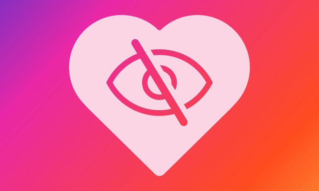 Un oeil barré dans un cœur qui symbolise la fin des likes sur Instagram